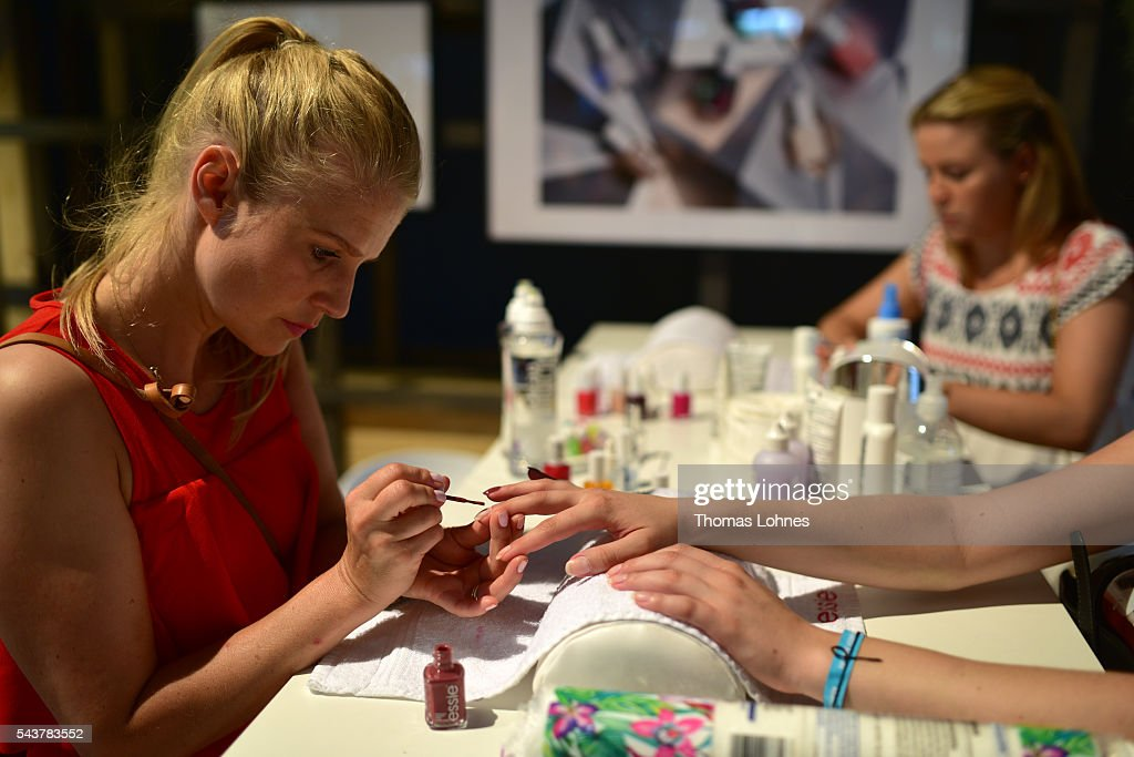 A general view of guests getting their nails done at the Maybelline New York during the Mercedes-Benz Fashion Week Berlin Spring/Summer 2017 at Erika Hess Eisstadion on June 29, 2016 in Berlin, Germany.