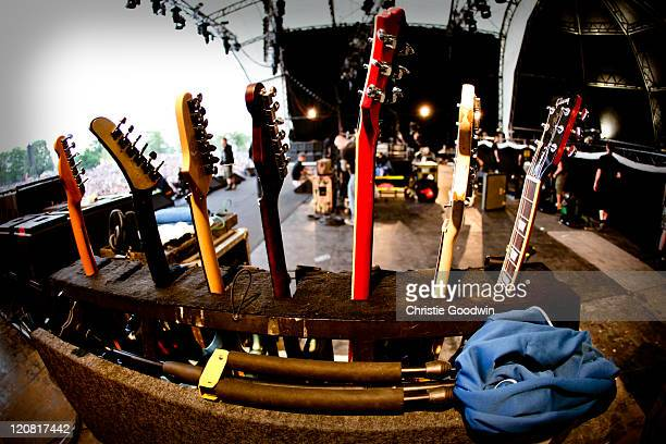 General view of guitars on stage at Rage Against the Machine concert in Finsbury Park on June 6 2010 in London UK