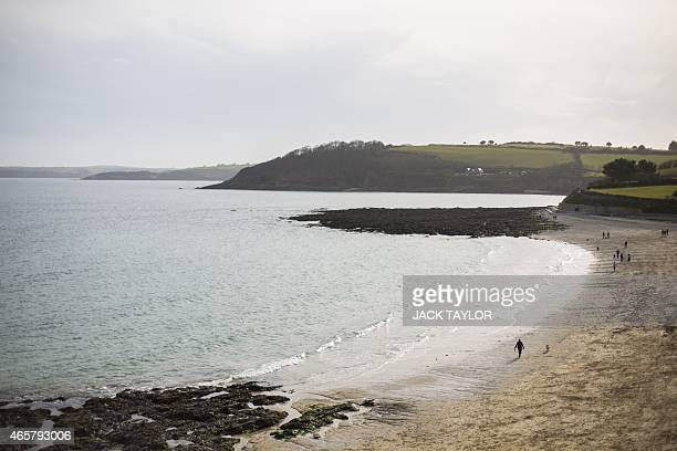 A general view of Gyllyngvase Beach from Falmouth in south west England on March 10 2015 AFP PHOTO / JACK TAYLOR