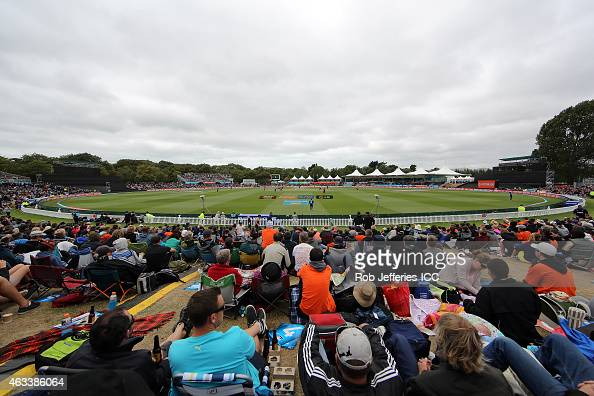 A general view of Hagley Oval during the 2015 ICC Cricket World Cup match between Sri Lanka and New Zealand at Hagley Oval on February 14 2015 in...