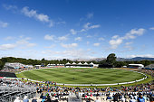 General view of Hagley Oval during the ICC Cricket World Cup match between South Africa and New Zealand at Hagley Park on February 11 2015 in...