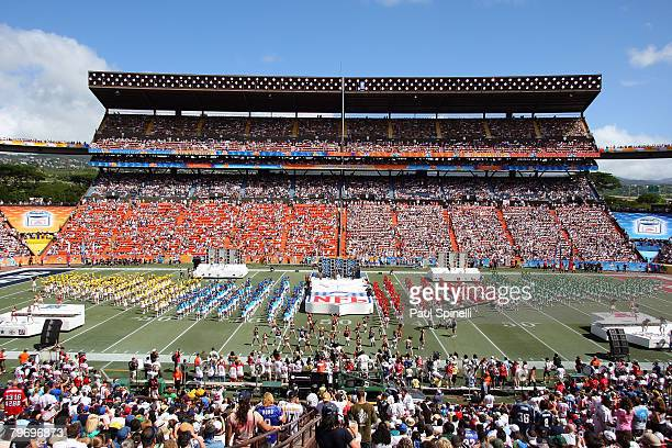 General view of halftime festivities at the AFC game against the NFC during the 2008 NFL Pro Bowl at Aloha Stadium on February 10 2008 in Honolulu...