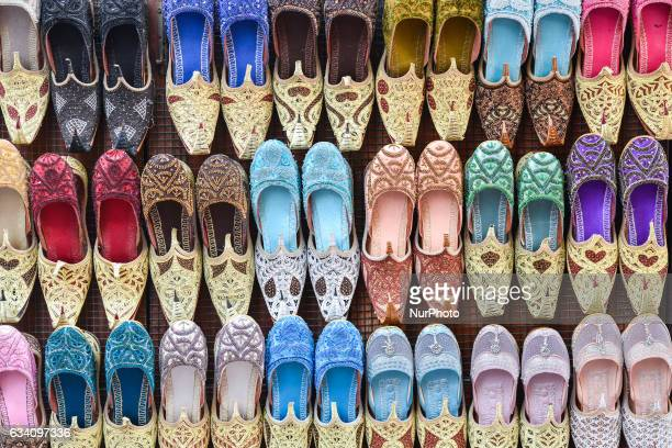 A general view of hand made shoes inside a shop with souvenirs in Dubai Old Town On Monday 6 February in Dubai UAE