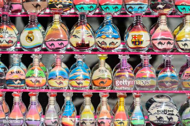 A general view of hand painted and decorated glass bottles inside a shop with souvenirs in Dubai Old Town On Monday 6 February in Dubai UAE