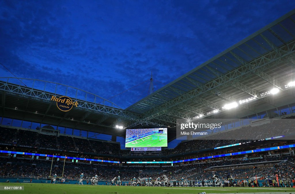 A general view of Hard Rock Stadium during a preseason game between the Miami Dolphins and the Baltimore Ravens on August 17, 2017 in Miami Gardens, Florida.