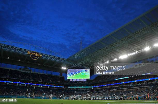 A general view of Hard Rock Stadium during a preseason game between the Miami Dolphins and the Baltimore Ravens on August 17 2017 in Miami Gardens...