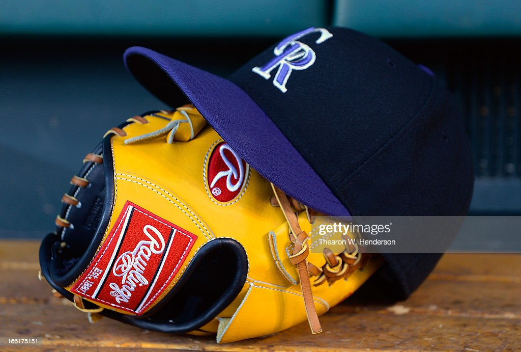 A general view of hat and baseball glove belonging to pitcher Jorge De La Rosa #29 of the Colorado Rockies during an MLB baseball game against the San Francisco Giants at AT&T Park on April 8, 2013 in San Francisco, California.