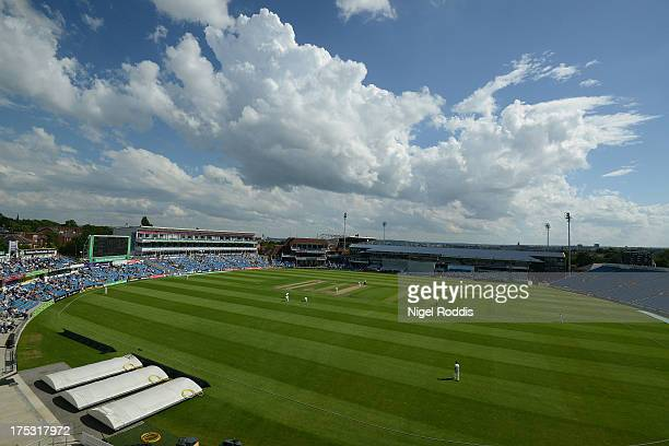 A general view of Headingley cricket ground during day one of the LV County Championship division One match between Yorkshire and Warwickshire at...