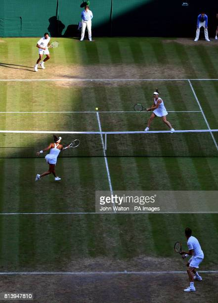 General view of Heather Watson and Henri Kontinen against Rohan Bopanna and Gabriela Dabrowski on day ten of the Wimbledon Championships at The All...
