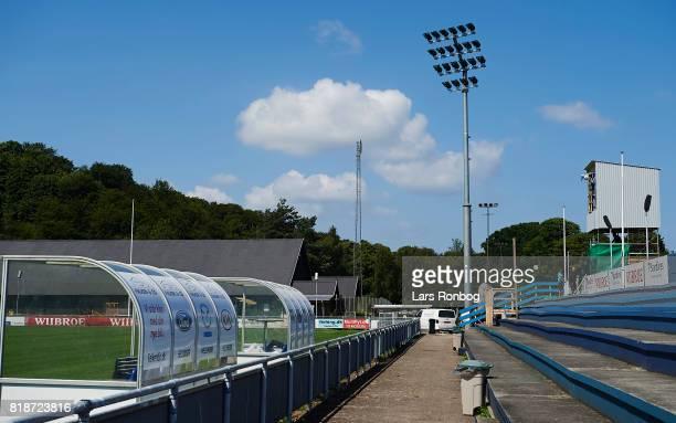 General view of Helsingor Stadion and the new flood lights on July 19 2017 in Helsingor Denmark
