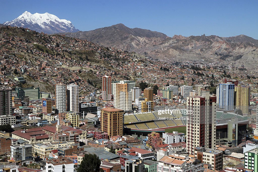 General view of Hernando Siles stadium, with the Illimani mountain behind, on May 29, 2012 in La Paz, Bolivia. Hernando Siles stadium can host 42,000 spectators and is the biggest sports complex in Bolivia. It is situated at 3604 meters over the sea level and is the venue for the Bolivian national team games.
