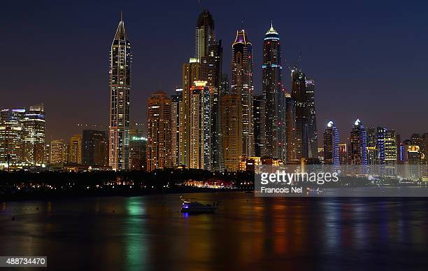 A general view of highrise residential apartment buildings in Dubai Marina on September 14 2015 in Dubai United Arab Emirates