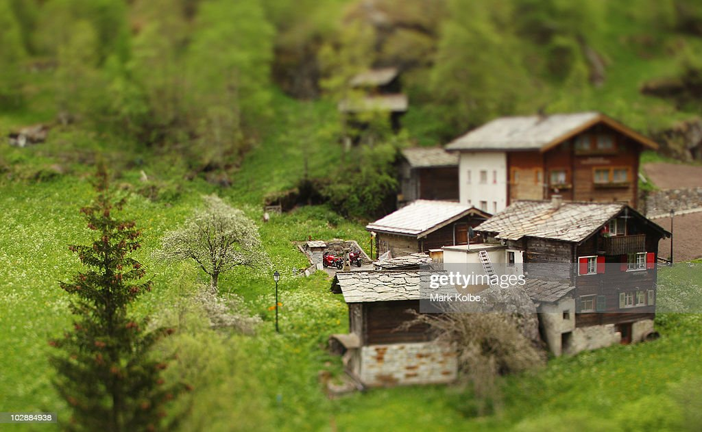 A general view of hillside cottages is seen on June 26, 2010 in Saas-Fee, Switzerland.