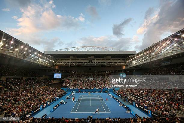 A general view of Hisense Arena as Andreas Seppi of Italy plays a forehand in his fourth round match against Nick Kyrgios of Australia during day...