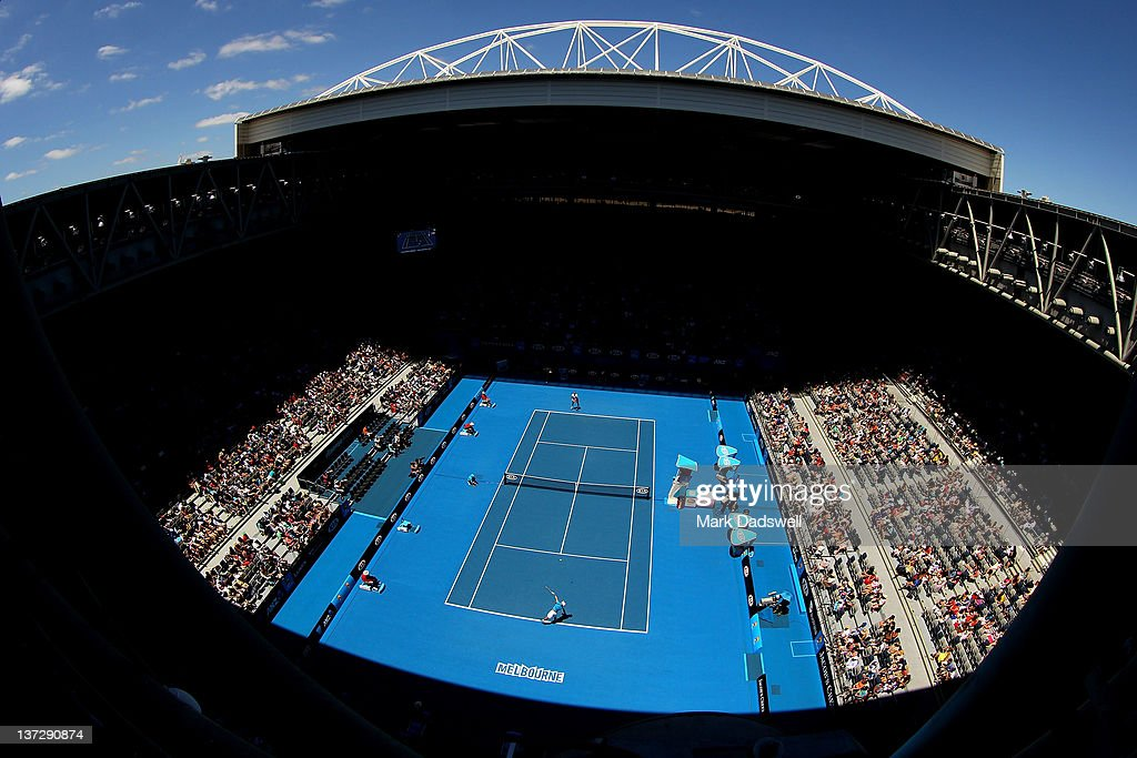 A general view of Hisense Arena during the second round match between Ricardo Mello of Brazil and JoWilfred Tsonga of France during day four of the...