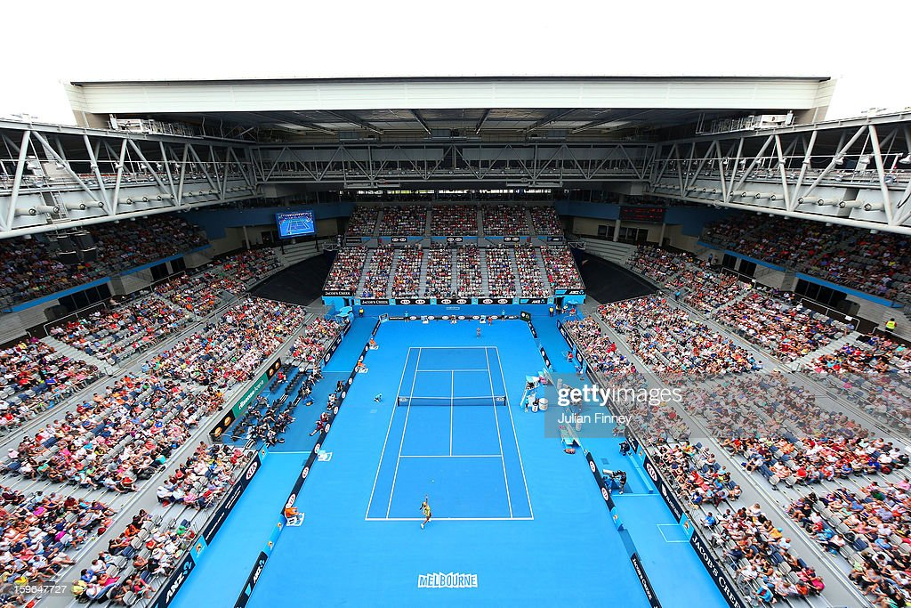 A general view of Hisense Arena during the women's third round match between Ana Ivanovic of Serbia and Jelena Jankovic of Serbia during day five of the 2013 Australian Open at Melbourne Park on January 18, 2013 in Melbourne, Australia.