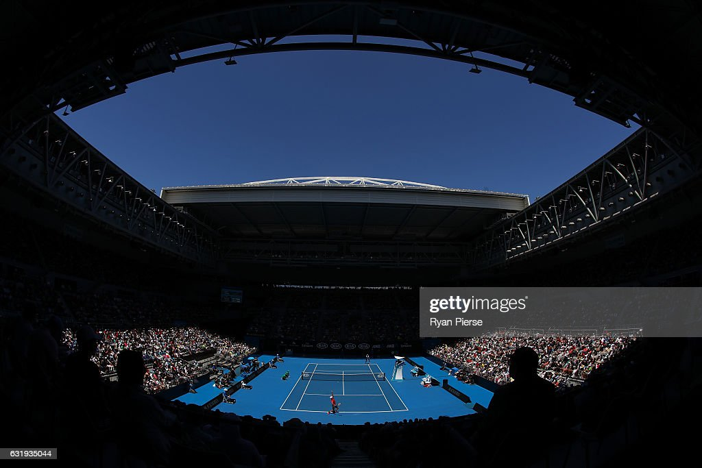 A general view of Hisense Arena in the second round match between Kei Nishikori of Japan and Jeremy Chardy of France on day three of the 2017 Australian Open at Melbourne Park on January 18, 2017 in Melbourne, Australia.
