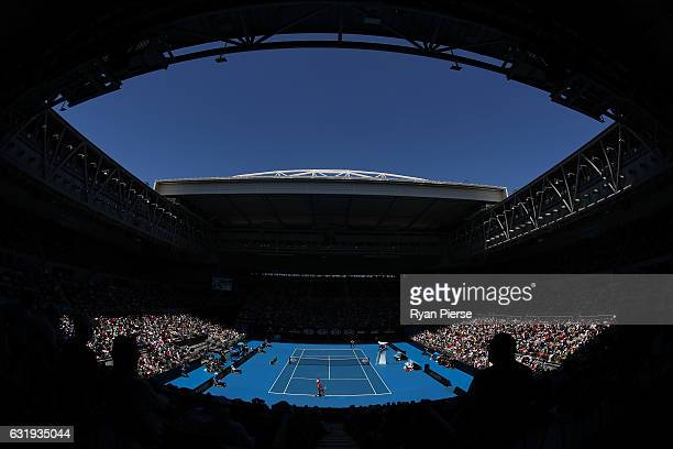 A general view of Hisense Arena in the second round match between Kei Nishikori of Japan and Jeremy Chardy of France on day three of the 2017...