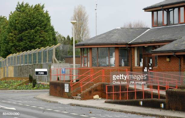 General view of HM Prison Ford in Arundel Ford is an open prison in the West Sussex countryside where larchlap fencing replaces high walls and...