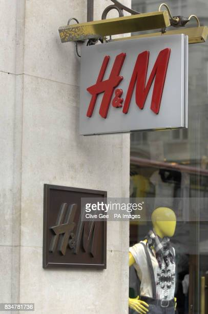 General view of HM store sign on Oxford Street in London