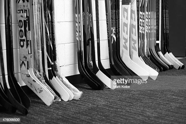 A general view of hockey sticks are seen during the 2015 Ice Hockey Classic match between the Unites States and Canada at Allphones Arena on June 6...