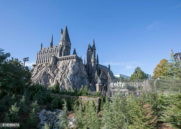 General view of Hogwarts Castle at Wizarding World of Harry Potter Diagon Alley at Universal Orlando on October 24 2016 in Orlando Florida
