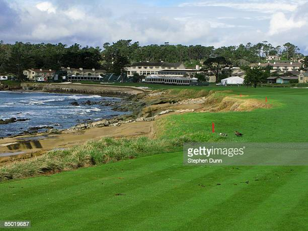 A general view of hole on Pebble Beach Golf Links after cancellation of the final round of the the ATT Pebble Beach National ProAm on February 16...