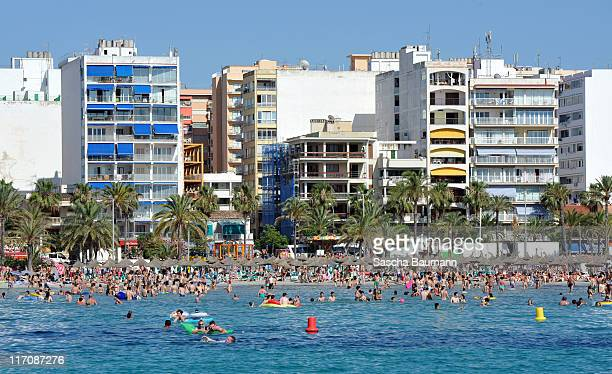 General view of holidaymakers along the beach in El Arenal in Palma de Mallorca pictured on June 17 2011 in Palma de Mallorca Spain