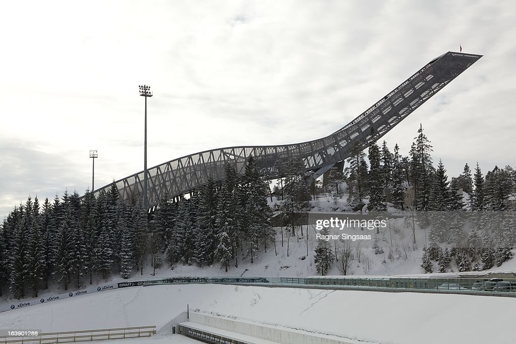 . General view of Holmenkollen ski jumping hill during FIS World Cup Nordic Holmenkollen 2013 on March 17, 2013 in Oslo, Norway.