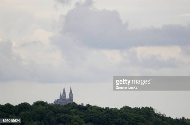 A general view of Holy Hill church during the third round of the 2017 US Open at Erin Hills on June 17 2017 in Hartford Wisconsin