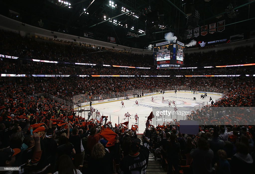 A general view of Honda Center is seen prior to the start of Game Five of the Western Conference Quarterfinals between the Anaheim Ducks and the Detroit Red Wings during the 2013 NHL Stanley Cup Playoffs on May 8, 2013 in Anaheim, California. The Ducks defeated the Red Wings 3-2 in overtime.