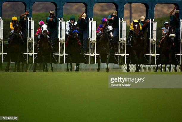 A general view of horses breaking at the gate at the start of the 59th Running of the Oceanside Stakes during Opening Day at the Del Mar Thoroughbred...