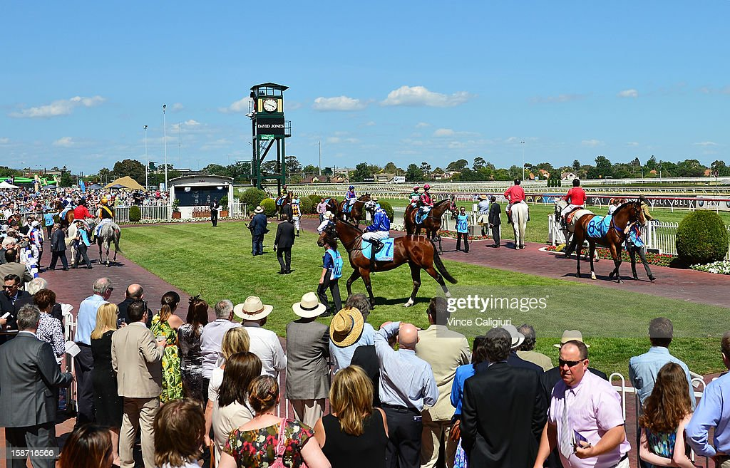 General view of horses in the mounting yard before the Jack & Muriel Magee Memorial Christmas Stakes at Caulfield Racecourse on December 26, 2012 in Melbourne, Australia.