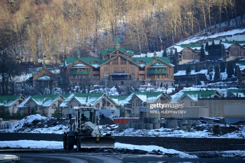A general view of hotel on the low station of cable way to the Laura Cross Country and Biathlon Center in Russian Black Sea resort of Sochi on February 3, 2013.