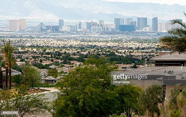 A general view of hotelcasinos on the Las Vegas Strip June 19 2009 as seen from Henderson Nevada According to the Southern Nevada Water Authoity the...