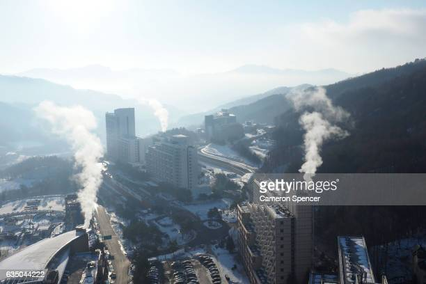 A general view of hotels at Bokwang Snowpark Village on February 13 2017 in PyeongChanggun South Korea Bokwang Snowpark will be used for the 2018...