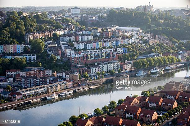 A general view of housing and streets are seen during a preview flight to launch next week's Tribute Bristol International Balloon Fiesta on July 31...