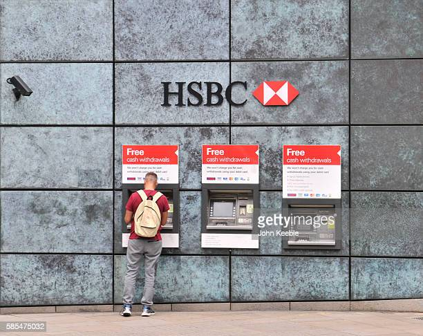 A general view of HSBC bank teller machines and signage on July 28 2016 in London England