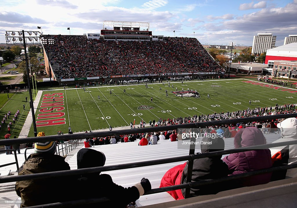 A general view of Huskie Stadium and Brigham field as the Northern Illinois Huskies take on the Eastern Michigan Eagles at Brigham Field on October 26, 2013 in DeKalb, Illinois.