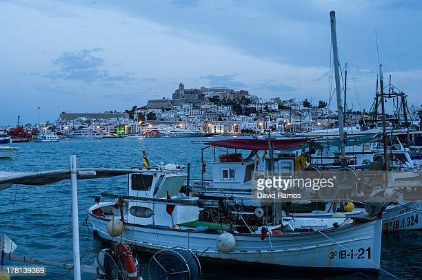 A general view of Ibiza old town at dusk on August 22 2013 in Ibiza Spain The small island of Ibiza lies within the Balearics islands off the coast...