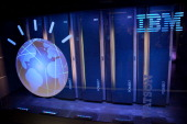 A general view of IBM's 'Watson' computing system at a press conference to discuss the upcoming Man V Machine 'Jeopardy' competition at the IBM TJ...