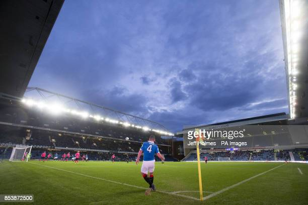 A general view of Ibrox stadium as Rangers' Fraser Aird curls in a corner during the Petrofac Training Cup Second Round match at Ibrox Stadium Glasgow