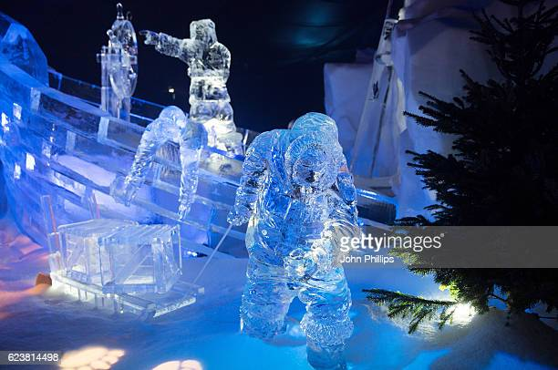 A general view of ice sculptures at the Magical Ice Kingdom at Hyde Park Winter Wonderland at Hyde Park on November 17 2016 in London England
