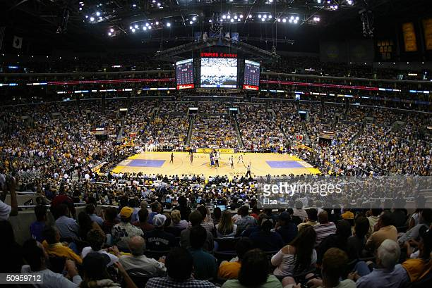 General view of in Game 1 of the 2004 NBA Finals between the Los Angeles Lakers and the Detroit Pistons at Staples Center on June 6 2004 in Los...