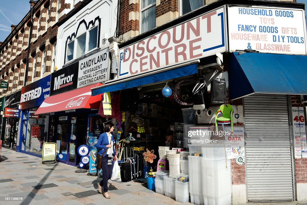 A general view of independant shops on St Johns Road, Clapham on September 24, 2013 in London, England. The Labour leader Ed Miliband in his party conference speech has pledged to help small firms by freezing business rates in England. The high street has becoming increasingly full of betting shops, charity shops and pawn brokers replacing independent shops.