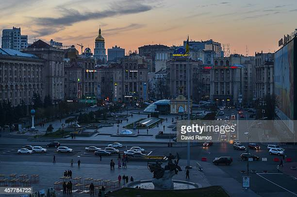 A general view of Independence Square on October 24 2014 in Kiev Ukraine The country's parliamentary elections scheduled for Sunday are seen as key...