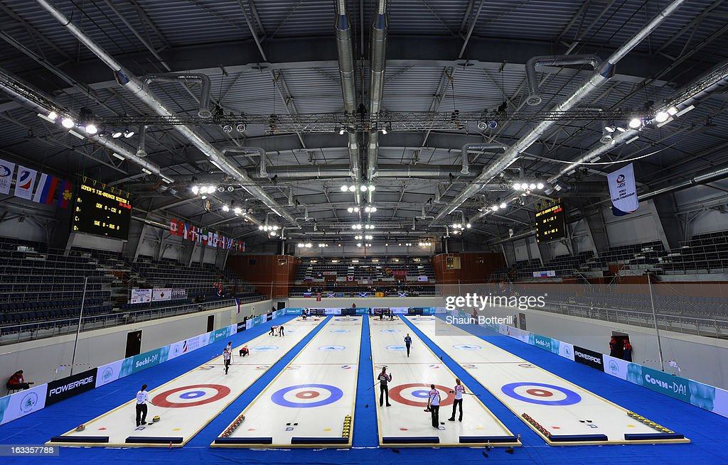 A general view of inside before the World Junior Curling Championships at Ice Cube Curling Center on March 8, 2013 in Sochi, Russia.