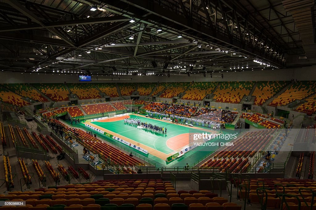 A general view of inside the Future Arena of Olympic Park which will host handball matches during the Rio 2016 Olympic Games in Rio de Janeiro, Brazil, on April 29, 2016. / AFP / YASUYOSHI