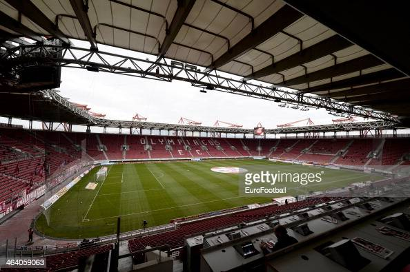 A general view of inside the Georgios Karaiskakis Stadium before the Greek Superleague match between Olympiacos and Levadiakos at the Georgios...