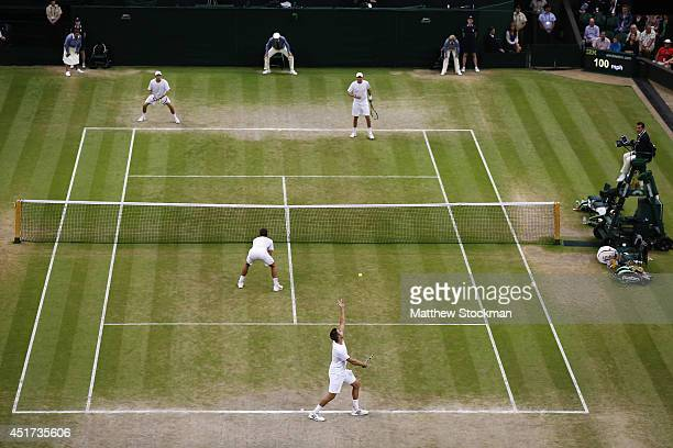 General view of Jack Sock of the United States serving during the Gentlemen's Doubles Final with Vasek Pospisil of Canada against Bob Bryan and Mike...